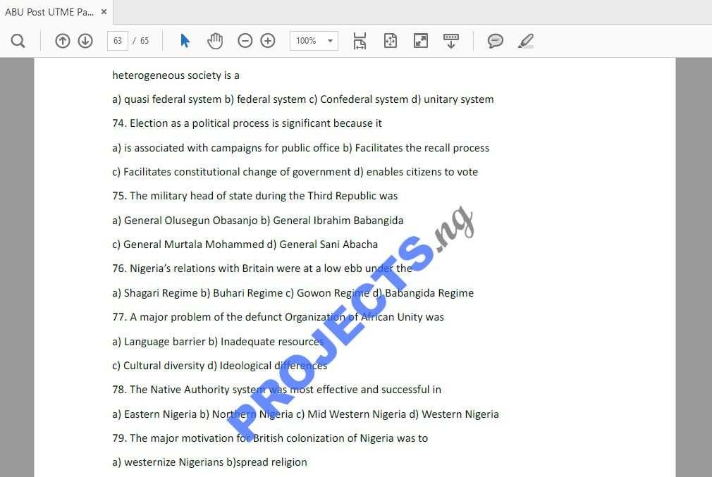ABU Post-UTME Past Questions and Answers PDF