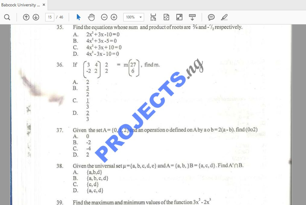 Babcock University Post-UTME Past Questions and Answers PDF