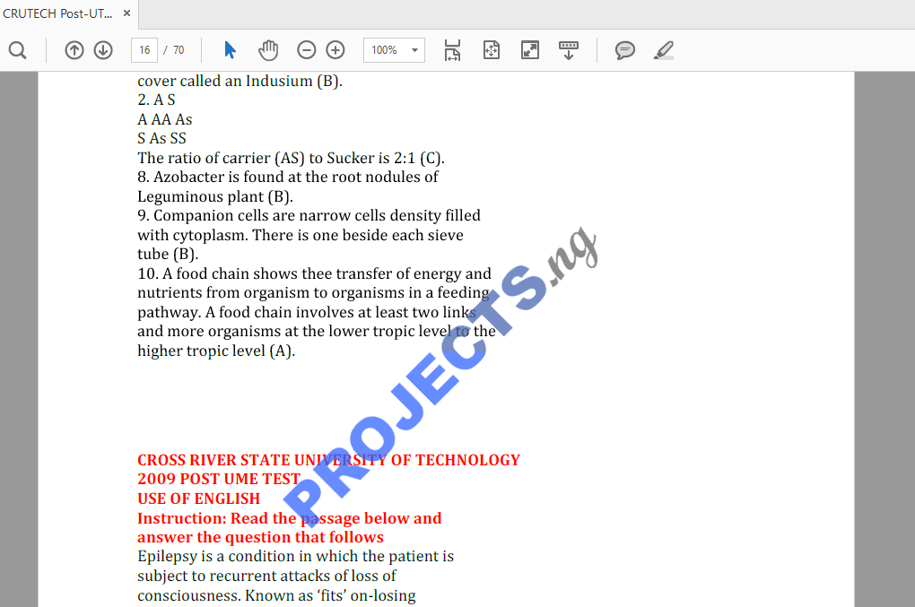 CRUTECH Post-UTME Past Questions and Answers PDF