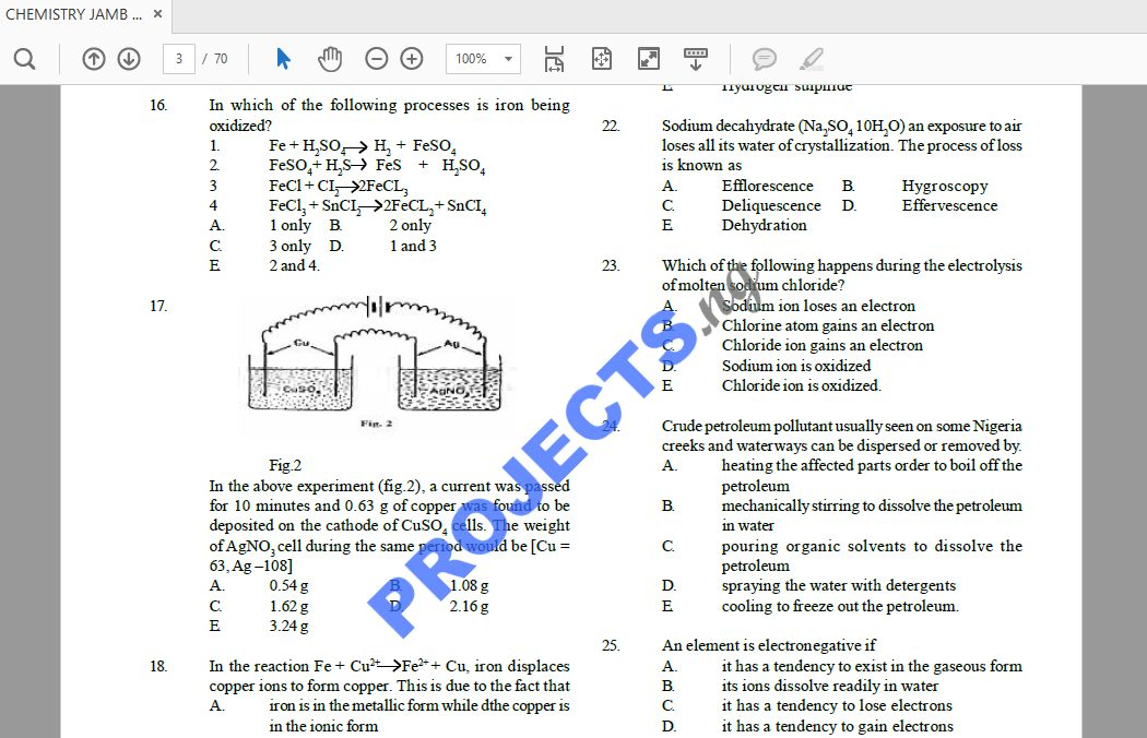 Chemistry JAMB Past Questions and Answers PDF
