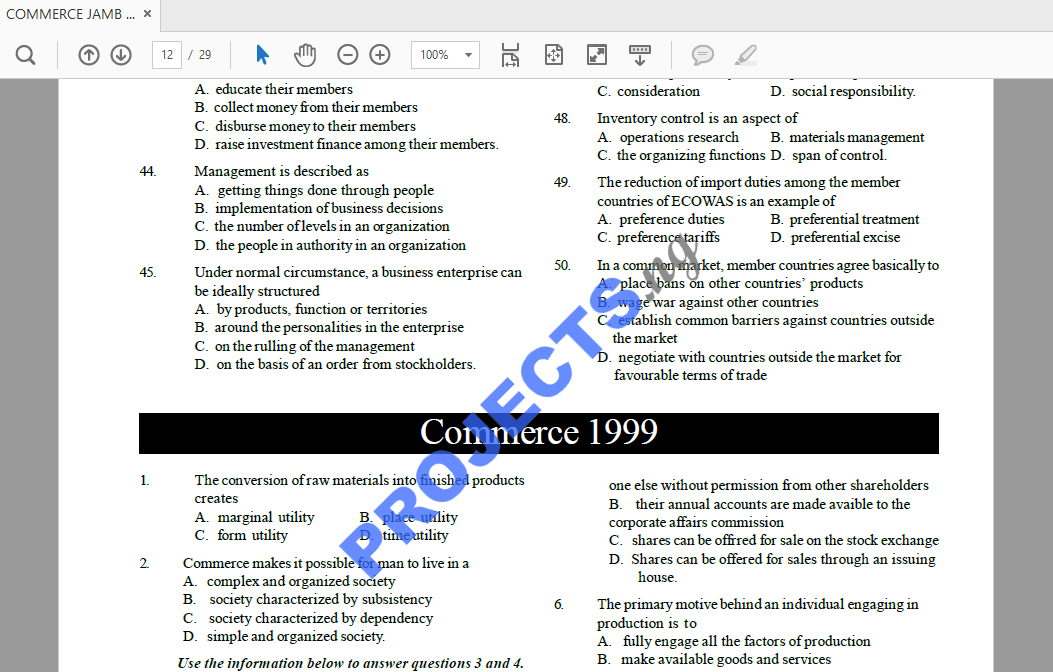 Commerce JAMB Past Questions and Answers PDF