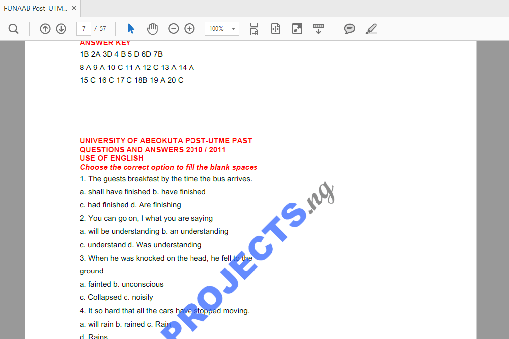 FUNAAB Post-UTME Past Questions and Answers PDF