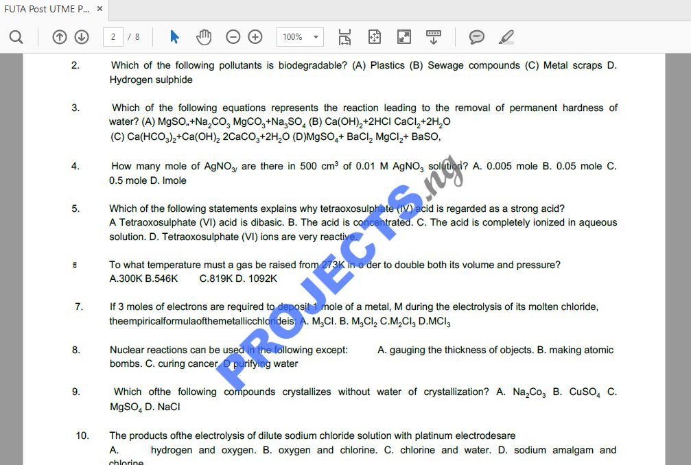 FUTA Post-UTME Past Questions and Answers PDF