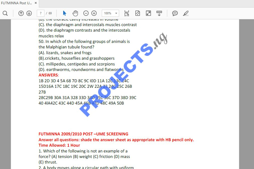 FUTMINNA Post-UTME Past Questions and Answers PDF