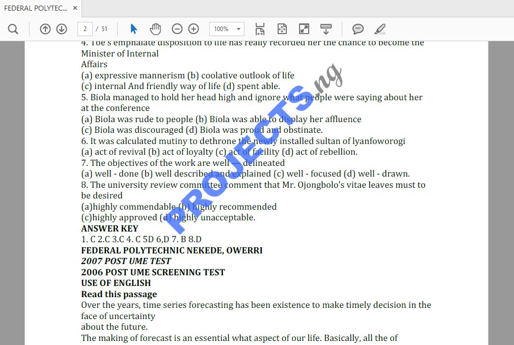 Federal Polytechnic Nekede Post-UTME Past Questions and Answers PDF