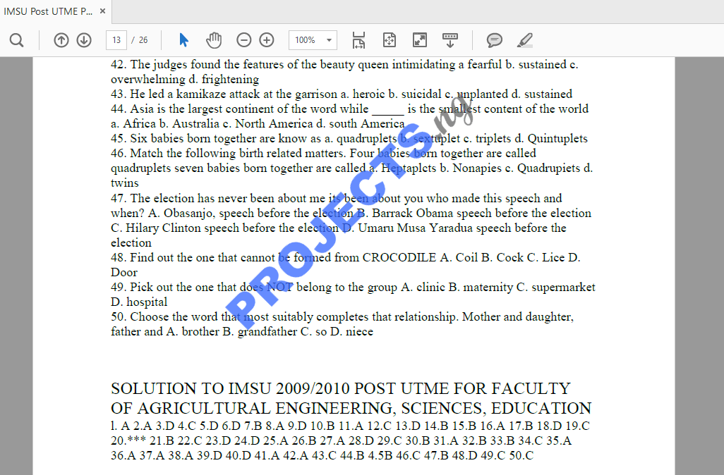 IMSU Post-UTME Past Questions and Answers PDF