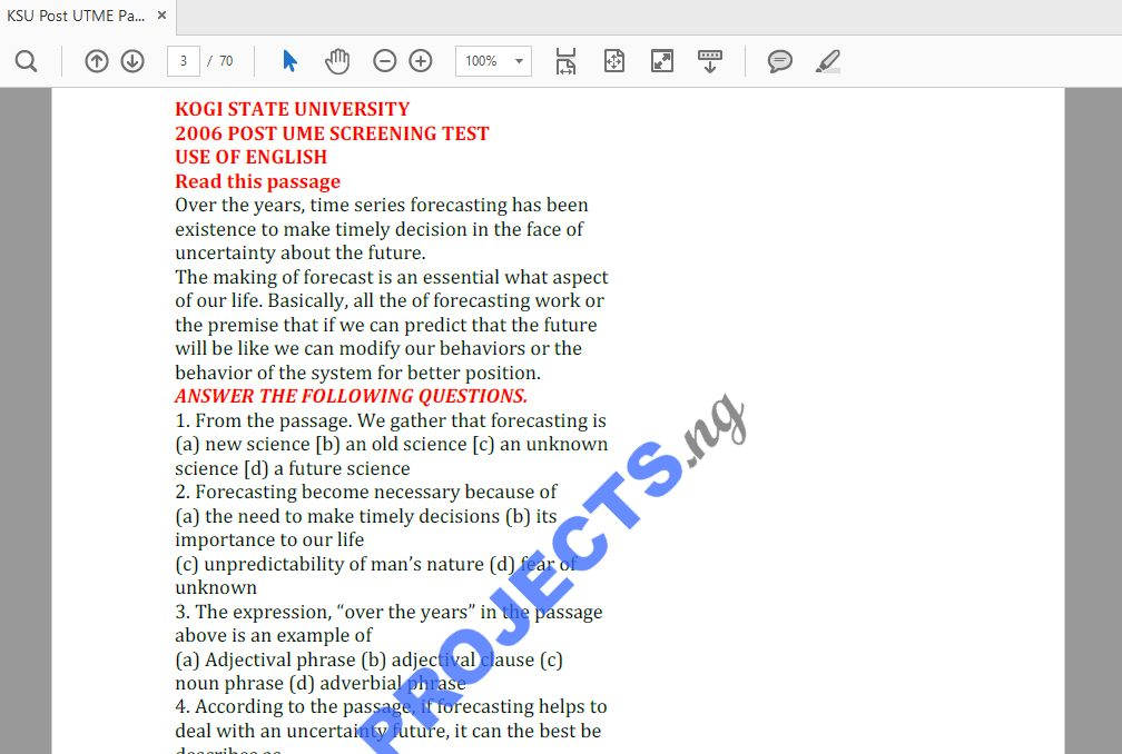 KSU Post-UTME Past Questions and Answers PDF