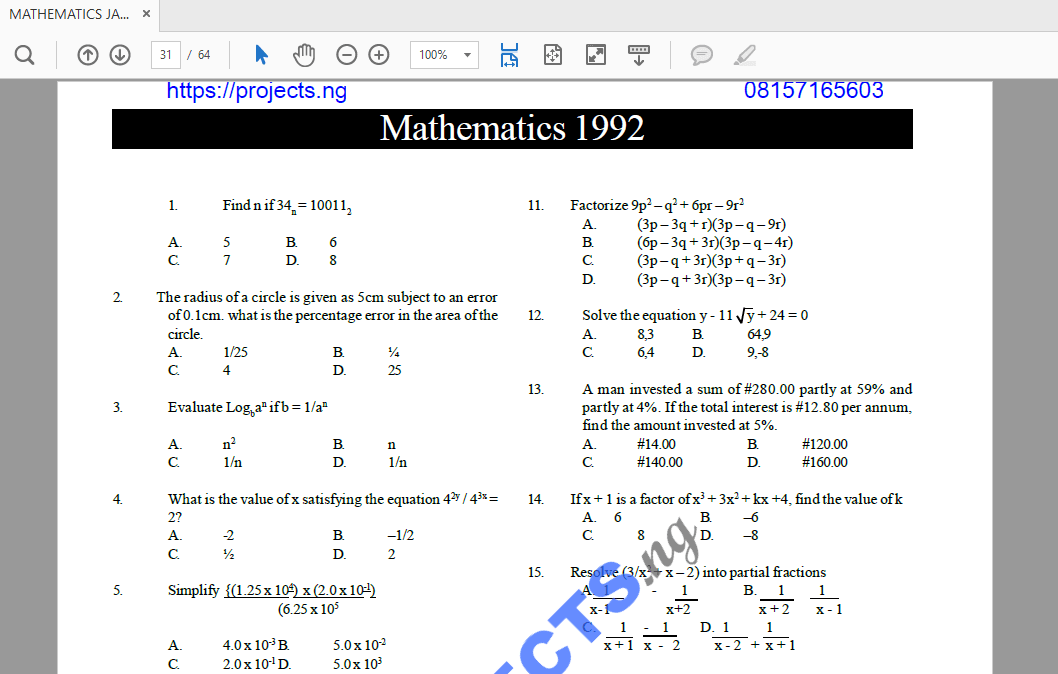 Mathematics JAMB Past Questions and Answers PDF