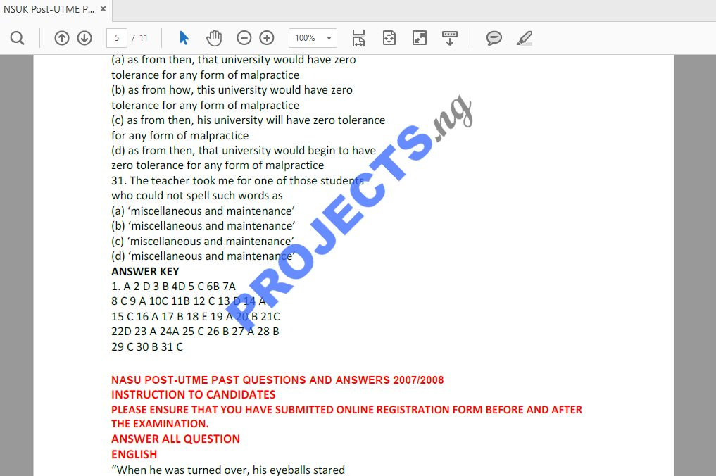 NSUK Post-UTME Past Questions and Answers PDF
