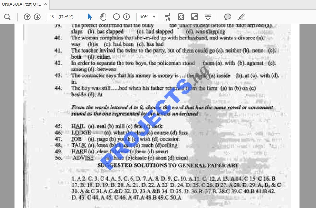 UNIABUJA Post-UTME Past Questions and Answers PDF