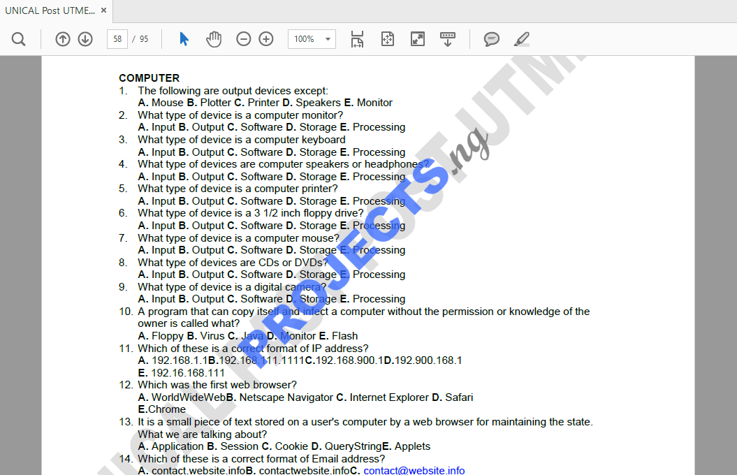 UNICAL Post-UTME Past Questions and Answers PDF