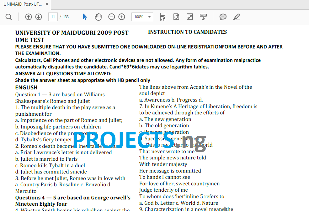 UNIMAID Post-UTME Past Questions and Answers PDF