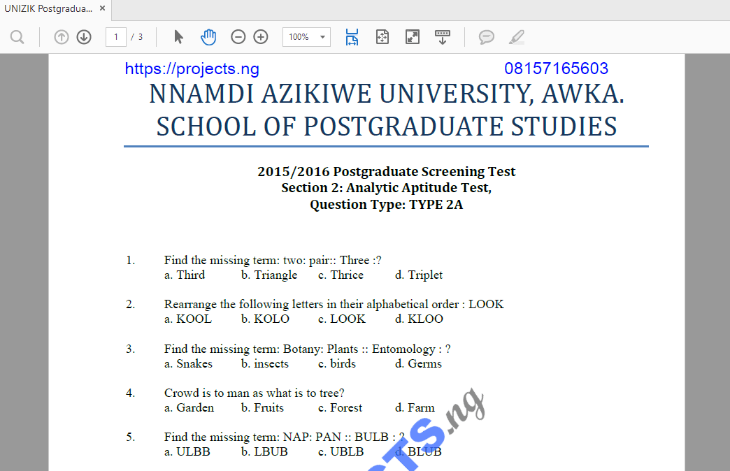 UNIZIK Postgraduate Past Questions and Answers PDF