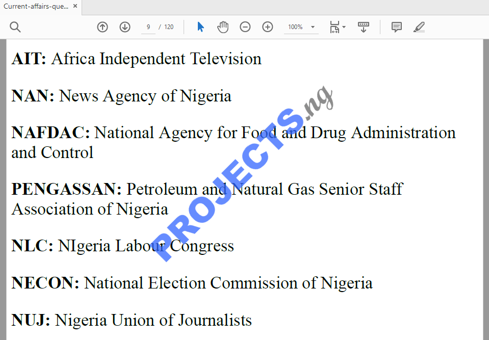 Nigeria Current Affairs 2018 Questions and Answers PDF