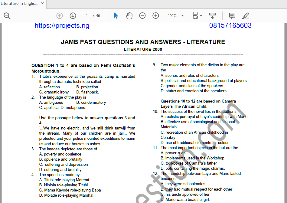 Literature in English JAMB Past Questions and Answers PDF