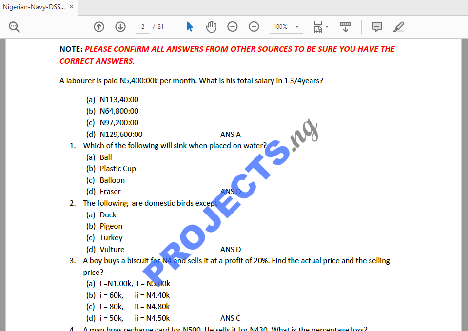 Nigerian Navy DSSC Past Questions and Answers PDF